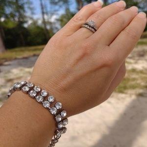 Vintage Silver Big Layered Rhinestones Fancy Brace